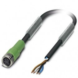 Sensor/actuator cable, 4-position, PUR halogen-free, black-gray, free cable end, on Socket straight M8, L: 1.5 m, SAC-4P- 1,5-P