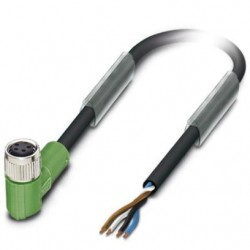 Sensor/actuator cable, 4-position, PUR halogen-free, black-gray, free cable end, on Socket angled M8, L: 1.5 m, SAC-4P- 1,5-PUR
