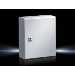 AE Compact enclosure, 300x400x210 mm, Sheet steel, with mounting plate, single-door, with one cam lock