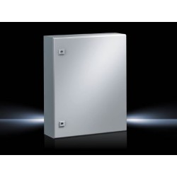 AE Compact enclosure, 500x700x250 mm, Sheet steel, with mounting plate, single-door, with two cam locks