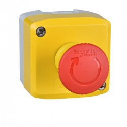 Yellow station, 1 red mushroom head pushbutton, diameter 40, turn to release, 1NC