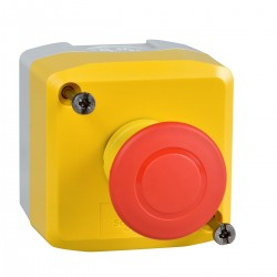 Yellow station, 1 red mushroom head pushbutton, diameter 40, push-pull, 1NC