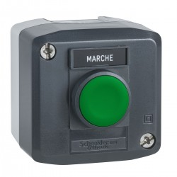 Dark grey station, 1 Green flush pushbutton diameter 22, spring return, 1NO, Marche