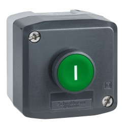 Dark grey station, 1 Green flush pushbutton, diameter 22, spring return, 1NO, I