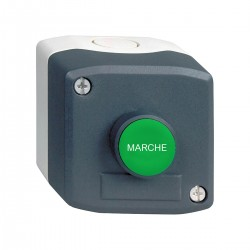 Dark grey station, 1 Green flush pushbutton, diameter 22, spring return, 1NO, Marche