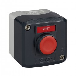 Dark grey station, 1 red flush pushbutton, diameter 22, spring return, 1NO, Arret