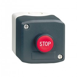 Dark grey station, 1 red flush pushbutton, diameter diameter22, spring return, 1NC, Stop