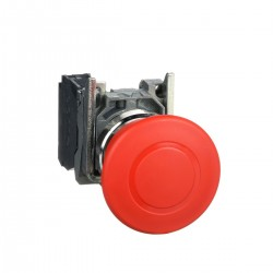 Emergency stop switching off, red, diameter 40 for 22 dimeter hole, latching push pull, 1NC