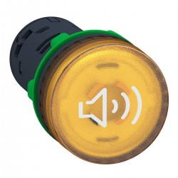 Continuous or intermittent illuminated yellow buzzer, 24 VAC..DC