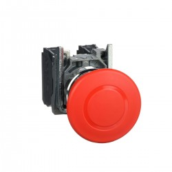 Emergency stop switching off, red, diameter 40 for 22 dimeter hole, latching push pull, 1NC and 1NO