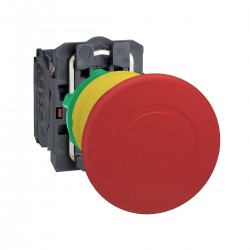 Emergency stop switching off, red, diameter 40 for 22 dimeter hole, trigger latching turn release, 2NC