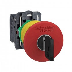 Emergency stop switching off, red, diameter 40 for 22 dimeter hole, latching key release, 1NC