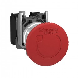 Emergency stop switching off, red, diameter 40 for 22 dimeter hole, latching turn release, 2NC and 1NO