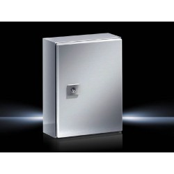 AE Compact enclosure, 200x300x155 mm, Stainless steel , with mounting plate, single-door, with one cam lock
