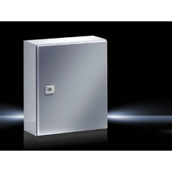 AE Compact enclosure, 300x380x210 mm, Stainless steel, with mounting plate, single-door, with one cam lock