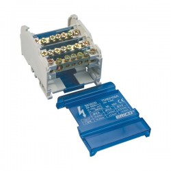 TD Compact Four Pole Distribution Block, 80..100 A, 2 Line Side Connections, 9 Load Side Connections