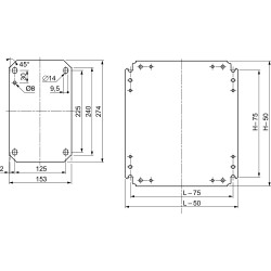 Plain mounting plate 300x300mm made of galvanised sheet steel