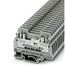 Test disconnect terminal block, with two test sockets for 4 mm test plugs, or for receiving bridge bars or screw bridges, screw