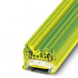 Spring cage ground terminal block, Spring-cage connection, No. of connections: 2, cross section: 0.08 mm2 - 4 mm2, green-yell