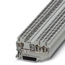 Feed-through terminal block, 800 V, 24 A, Spring-cage connection, No. of connections: 3, cross section: 0.08 mm2 - 4 mm2, gra