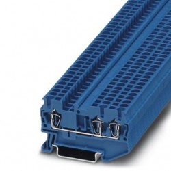 Feed-through terminal block, 800 V, 24 A, Spring-cage connection, No. of connections: 3, cross section: 0.08 mm2 - 4 mm2, blu