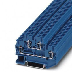 Double-level spring-cage terminal block, Spring-cage connection, cross section: 0.08 mm2 - 4 mm2, blue