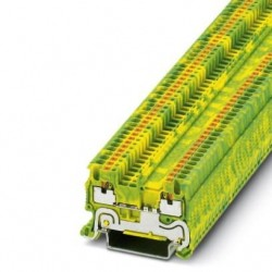 Ground modular terminal block, push-in connection, No. of connections: 2, cross section: 0.14 mm2 - 1.5 mm2, green-yellow