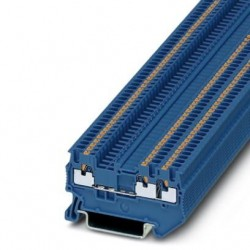 Feed-through terminal block, 500 V, 17.5 A, push-in connection, No. of connections: 3, cross section: 0.14 mm2 - 1.5 mm2, blue