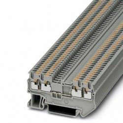 Feed-through terminal block, 500 V, 17.5 A, push-in connection, No. of connections: 4, cross section: 0.14 mm2 - 1.5 mm2, gray