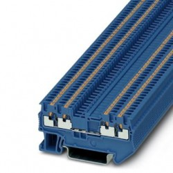 Feed-through terminal block, 500 V, 17.5 A, push-in connection, No. of connections: 4, cross section: 0.14 mm2 - 1.5 mm2, blue