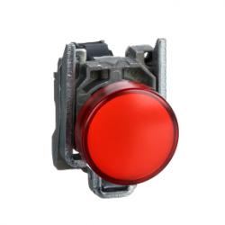 Red complete pilot light diameter: 22, plain lens with integral LED 24V