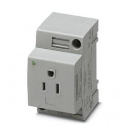 Socket SD-D/SP/GY, DIN standard, 2P, 16A, 250V AC
