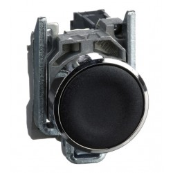 "Black flush complete pushbutton diameter: 22, spring return 1NO ""unmarked"""