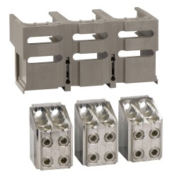 Front bare cable connectors, 3 connectors, for 4 x 240 mm2, 1 connector shield