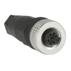 Female, M12, 4 pin, straight connector, cable gland Pg 7