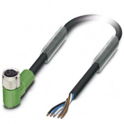 Sensor/actuator cable, 5-position, PUR, black-gray, free cable end, on Socket angled M8, L: 1.5 m, SAC-5P- 1,5-115/M 8FRB
