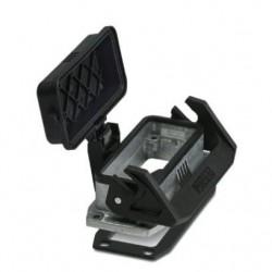 HEAVYCON B16 panel mounting base, single locking latch, plastic protective cover,  flat gasket, conductive profile gasket, HC-S