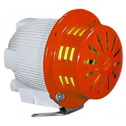 MINI CELERE electro-mechanical siren. MCL240DA - 101 dB - 240 V AC/DC. - On:1min. OFF:10min. Continuous single tone. IP43.
