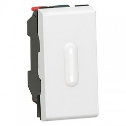 2 way switch Mosaic with LED indicator, 10AX, 250V, 1 module, white