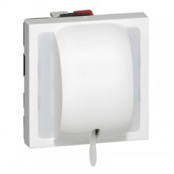 2 way pull cord switch Mosaic, 10AX, 230V…2300W, 2 modules, white