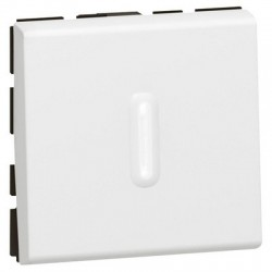 2 way push button Mosaic with LED indicator, 6A, 250V, 2 modules, white