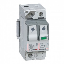 Surge protection device, 1P+N, type 2, 20kA, no remote indication
