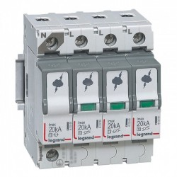 Surge protection device, 3P+N, type 2, 20kA, no remote indication