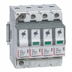 Surge protection device, 3P+N, type 2, 40kA, no remote indication