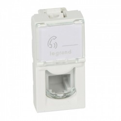 Telephone socket Mosaic, 4 contacts, 1 module, white