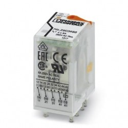 Plug-in industrial relay with power contacts, 4 PDTs, test key, status LED, mechanical switch position indicator, 230 V AC. REL