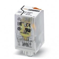 Pluggable octal relay with power contacts, 3 PDT, test button, mechanical switching position indication, coil voltage 24 V AC.
