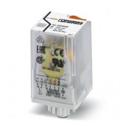 Pluggable octal relay with power contacts, 3 PDT, test button, mechanical switching position indication, coil voltage 120 V AC.