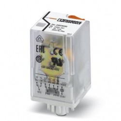 Pluggable octal relay with power contacts, 3 PDT, test button, mechanical switching position indication, input voltage: 230 V A
