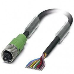 Sensor/actuator cable, 12-position, PUR halogen-free, black, free cable end, on Socket straight M12 SPEEDCON, L: 1.5 m, SAC-12P